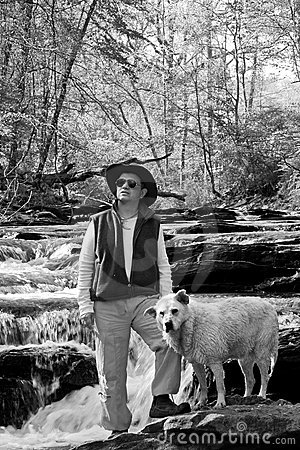 Man and Dog in River BW