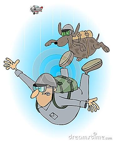 Man and dog skydivers