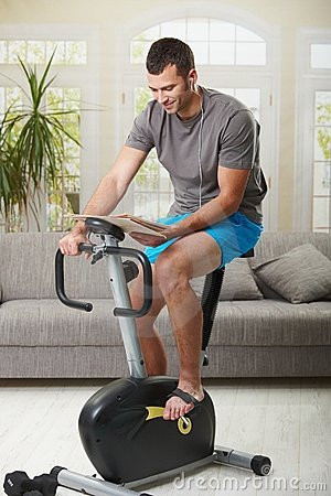 Man doing exercise at home