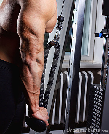 Man is doing exercise for triceps