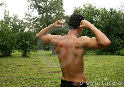 Man doing physical exercises