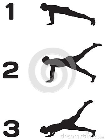 Man doing push ups in three steps silhouettes