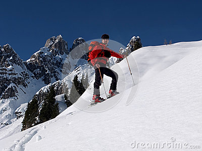 Ski touring in the mountains