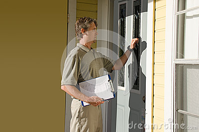 Man doing survey or petition work door-to-door