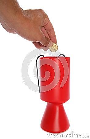 Man donating australian money to charity cutout