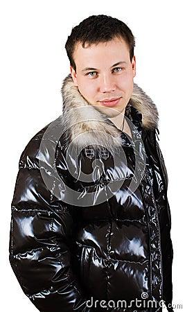 Man in down-padded coat