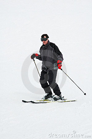 Man downhill skiing