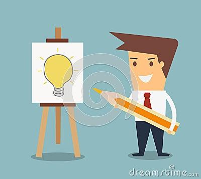 Man drawing a light bulb get an idea concept Vector Illustration