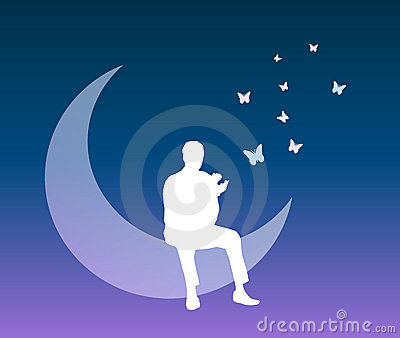 Man into a dream vector background