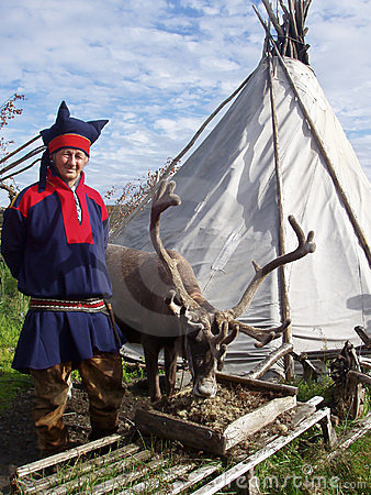 Man dressed in the costume of Lapland Editorial Photo