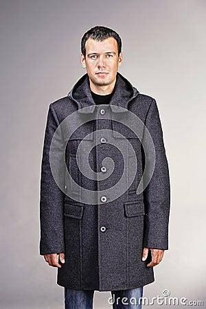 Man dressed in gray wool coat Stock Photo