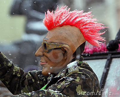 Man dressed in punk mask on Malanca Folk Festival Editorial Photography