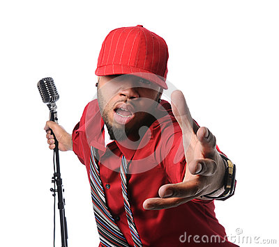 Man Dressed in Red Singing