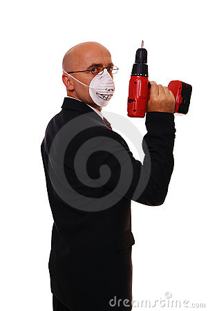 Man and drill