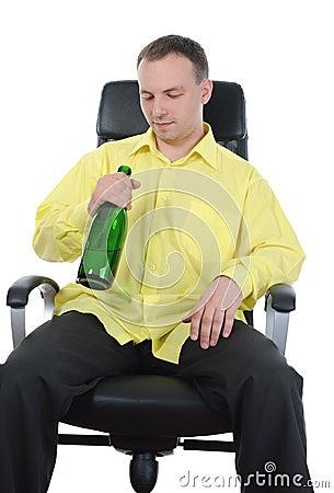 Man drinking alcohol.