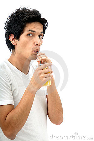 Man drinking a juice