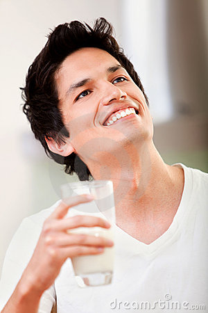 Man drinking milk