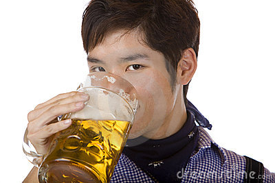 Man drinking out of Oktoberfest beer stein (Mass)