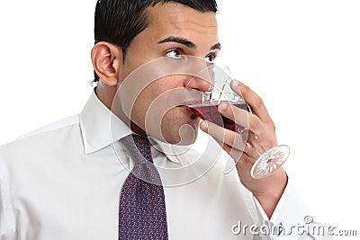 Man drinking or wine tasting
