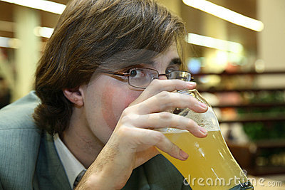 Man drinks beer