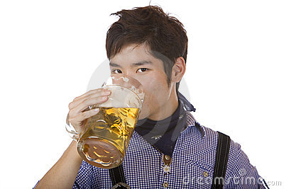 Man drinks out of Oktoberfest beer stein (Mass)