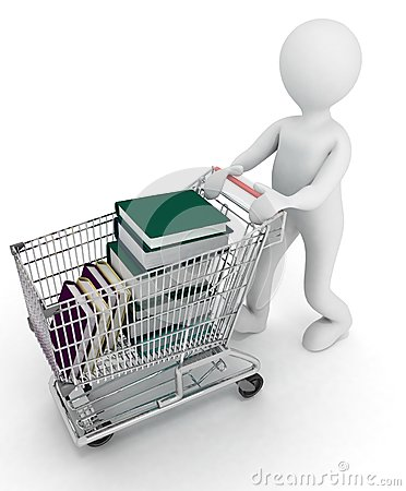 Man drives the complete cart of supermarket  books