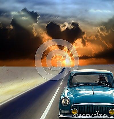 Man driving on retro car