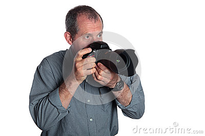 Man With DSLR Camera on White Background