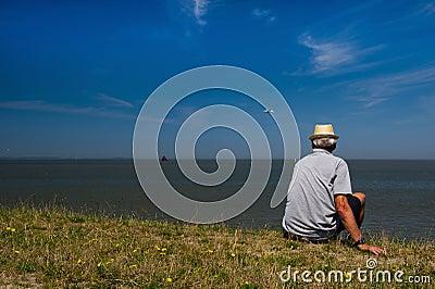 Man at Dutch wadden sea