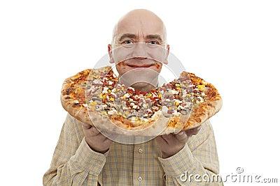 Man eat pizza