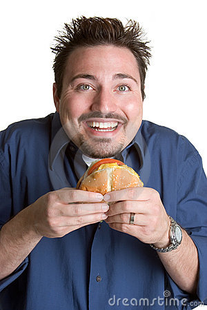 Man Eating Burger