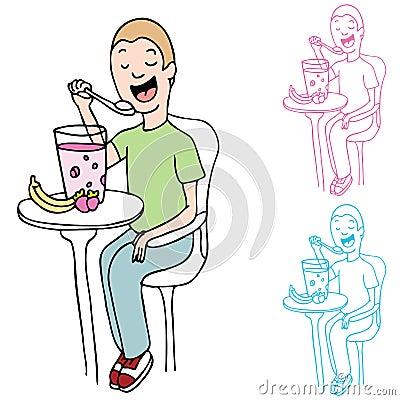 Man Eating Fruit and Yogurt