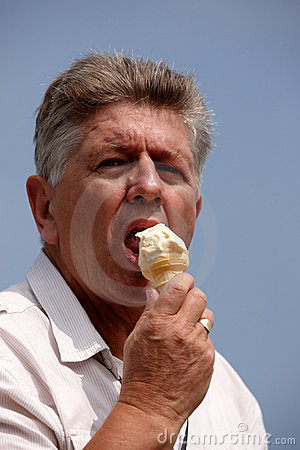 Man eating ice cream