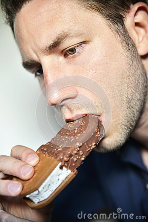 Man eating ice-cream