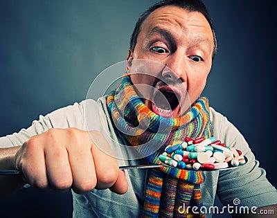 Man eating pills