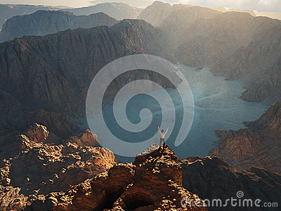 Man on the edge of cliff