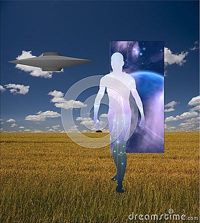 Man Emerges from doorway in landscape
