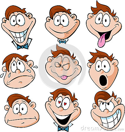 Man emotions - illustration of man with many facia