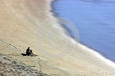 Man on Empty Beach
