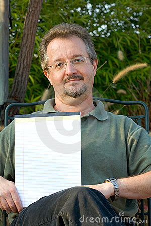 Man with empty blank notepad