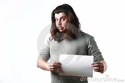 Man with empty paper sheet