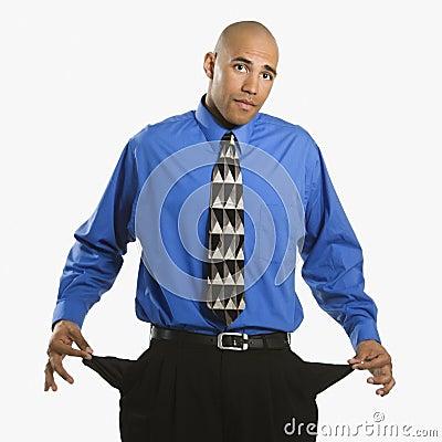 Man with empty pockets.