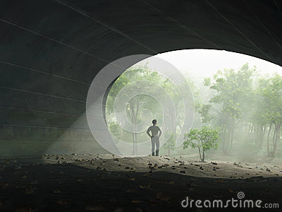 Man at the end of tunnel