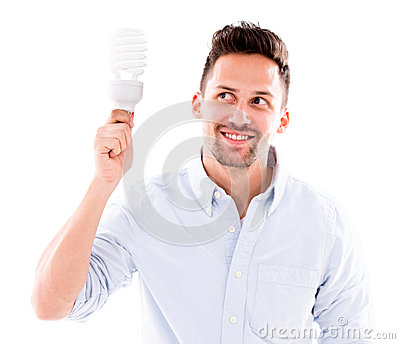 Man with an energy bulb