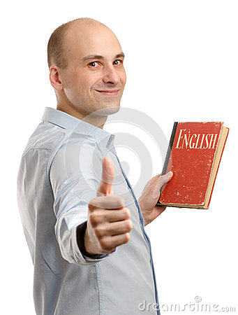 Man with English Dictionary Book