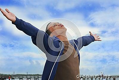Man enjoy the freedom at beach
