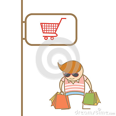 Man enjoy shopping