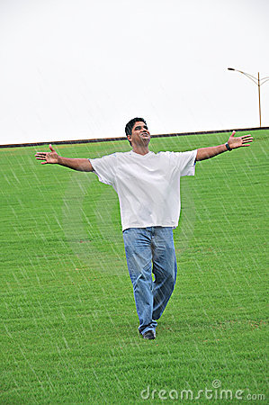 Man Enjoying Drizzle