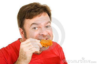 Man Enjoying Hot Wings