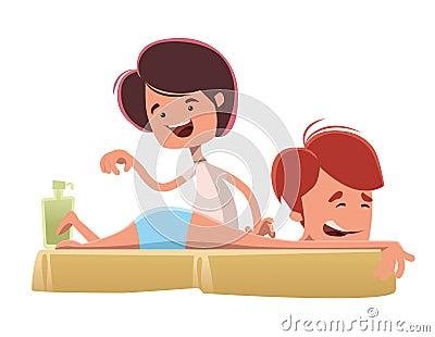 man enjoying a massage treatmant illustration cartoon